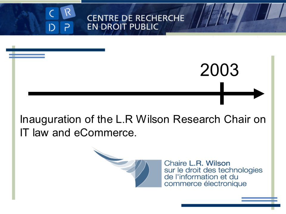 2003 Inauguration of the L.R Wilson Research Chair on IT law and eCommerce.