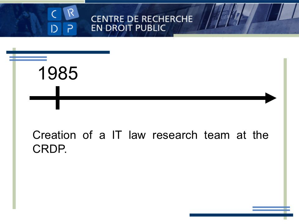 1985 Creation of a IT law research team at the CRDP.
