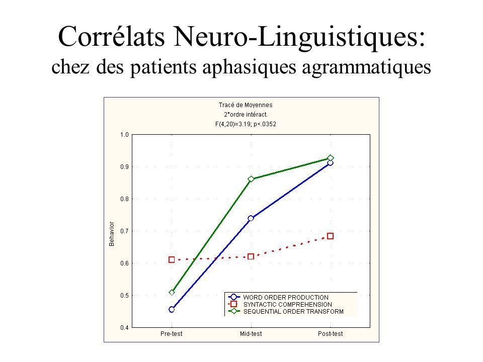 Corrélats Neuro-Linguistiques: chez des patients aphasiques agrammatiques