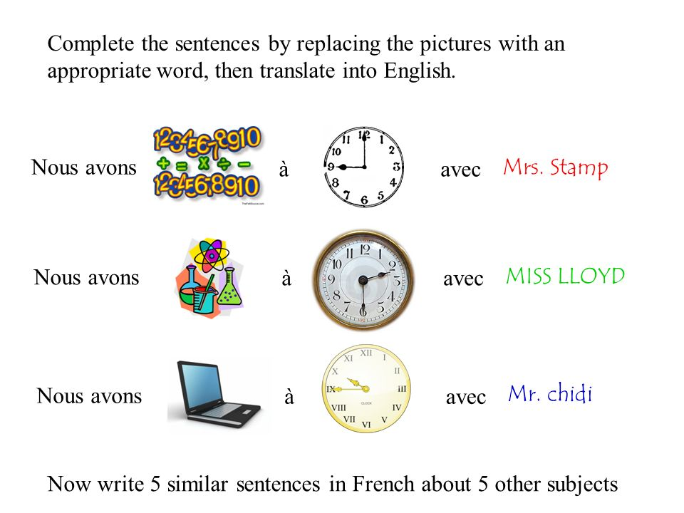 Nous avons àavec Complete the sentences by replacing the pictures with an appropriate word, then translate into English. Mrs. Stamp Nous avons àavec N