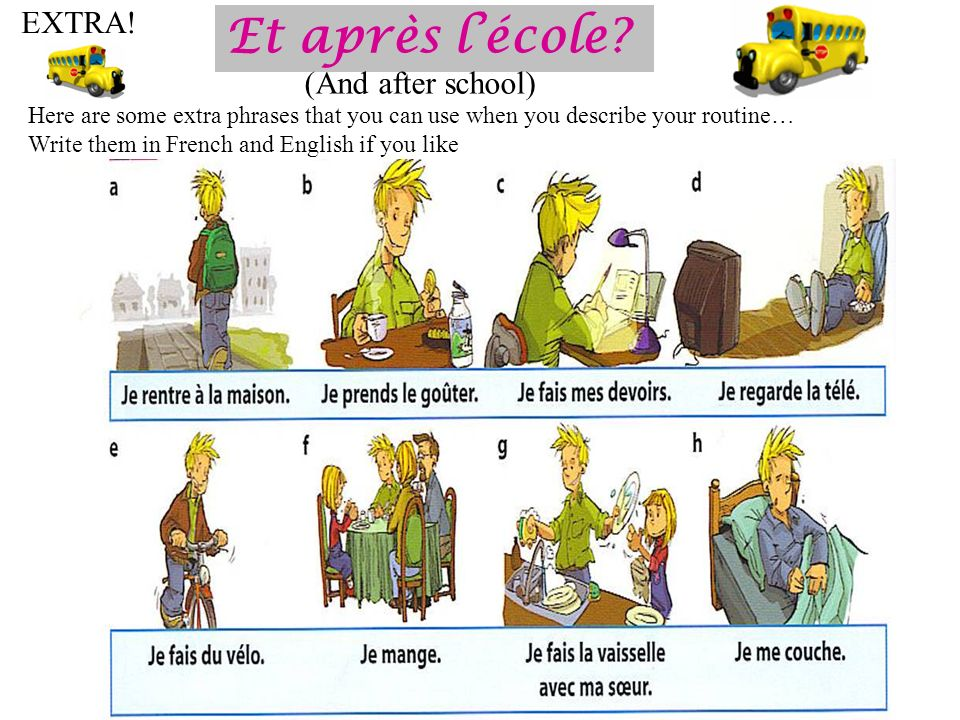 Et après lécole? (And after school) EXTRA! Here are some extra phrases that you can use when you describe your routine… Write them in French and Engli