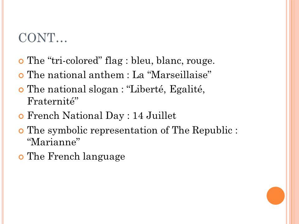 CONT… The tri-colored flag : bleu, blanc, rouge. The national anthem : La Marseillaise The national slogan : Liberté, Egalité, Fraternité French Natio