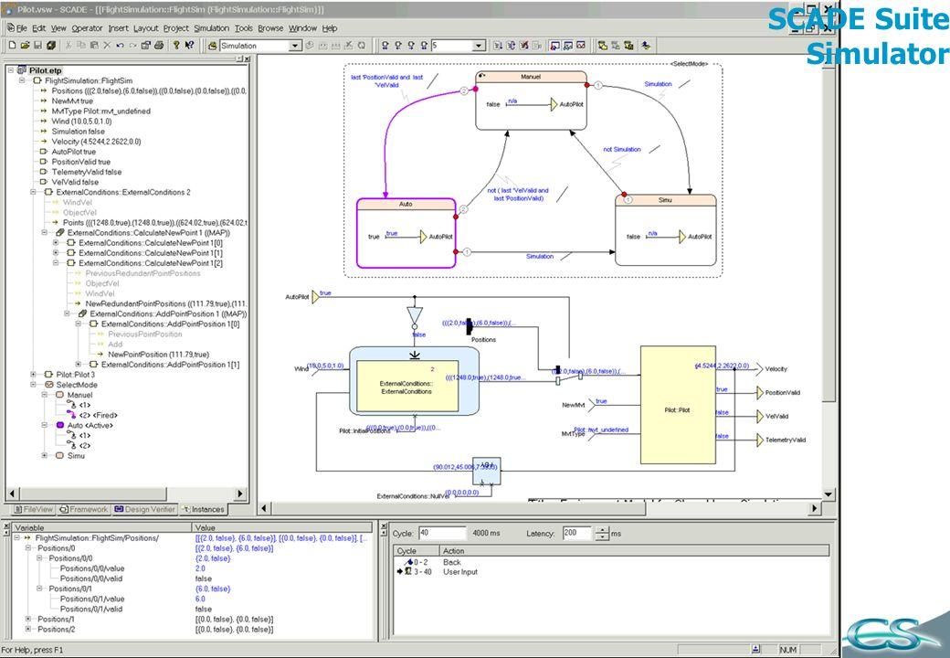 CS Communication & Systèmes – Charte 2010 6 SCADE Suite Simulator