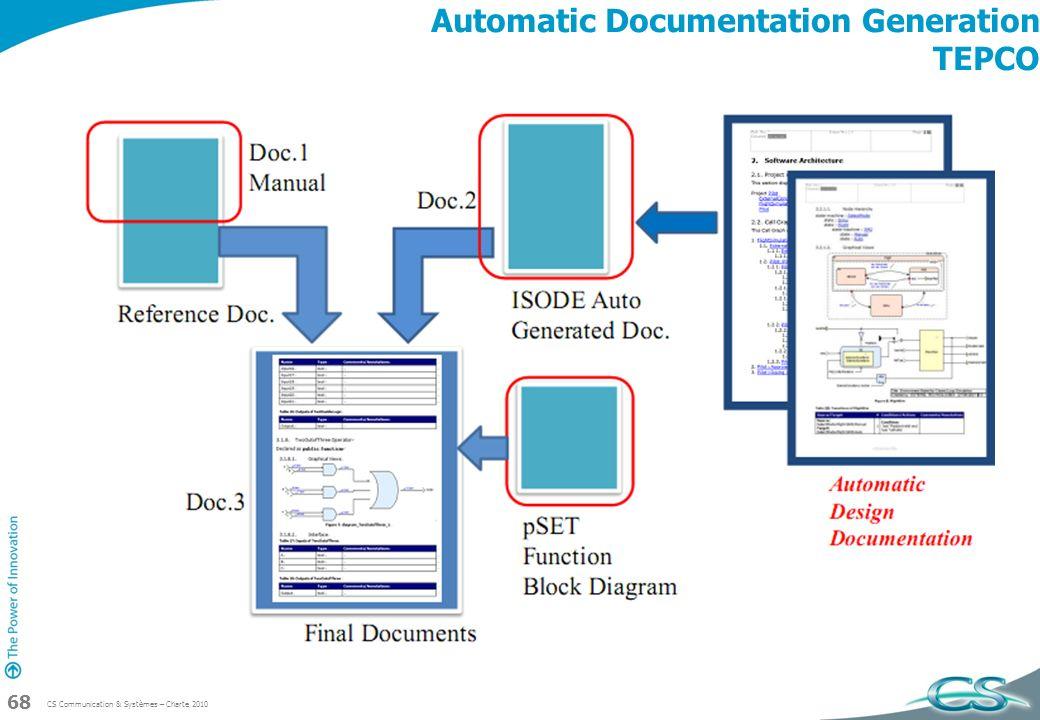 CS Communication & Systèmes – Charte 2010 68 Automatic Documentation Generation TEPCO
