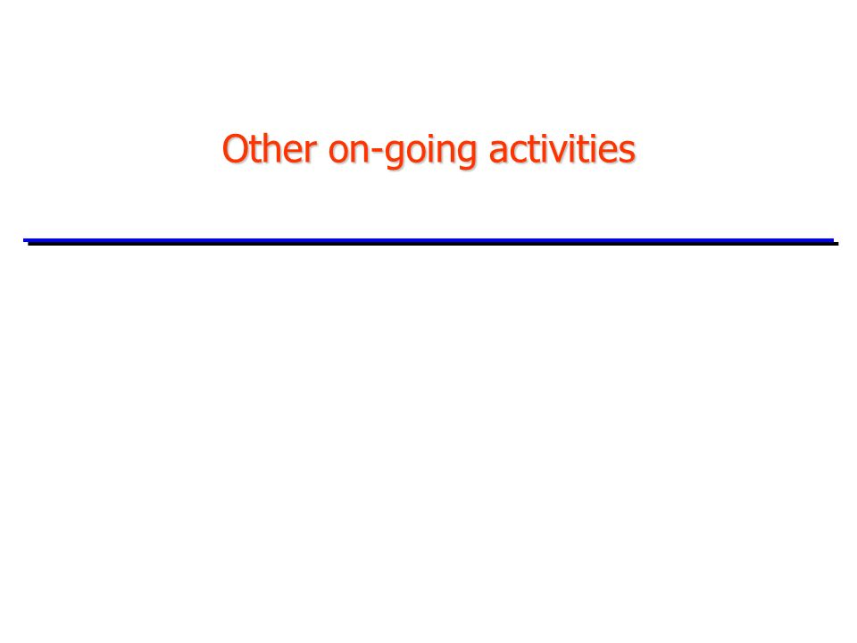 Other on-going activities