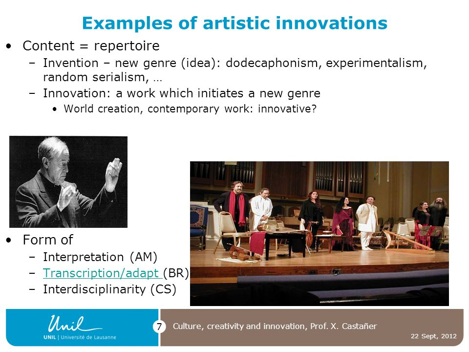 22 Sept, 2012 Culture, creativity and innovation, Prof.