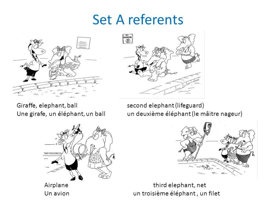 Set A referents Giraffe, elephant, ballsecond elephant (lifeguard) Une girafe, un éléphant, un ballun deuxième éléphant (le mâitre nageur) Airplane third elephant, net Un avion un troisième éléphant, un filet