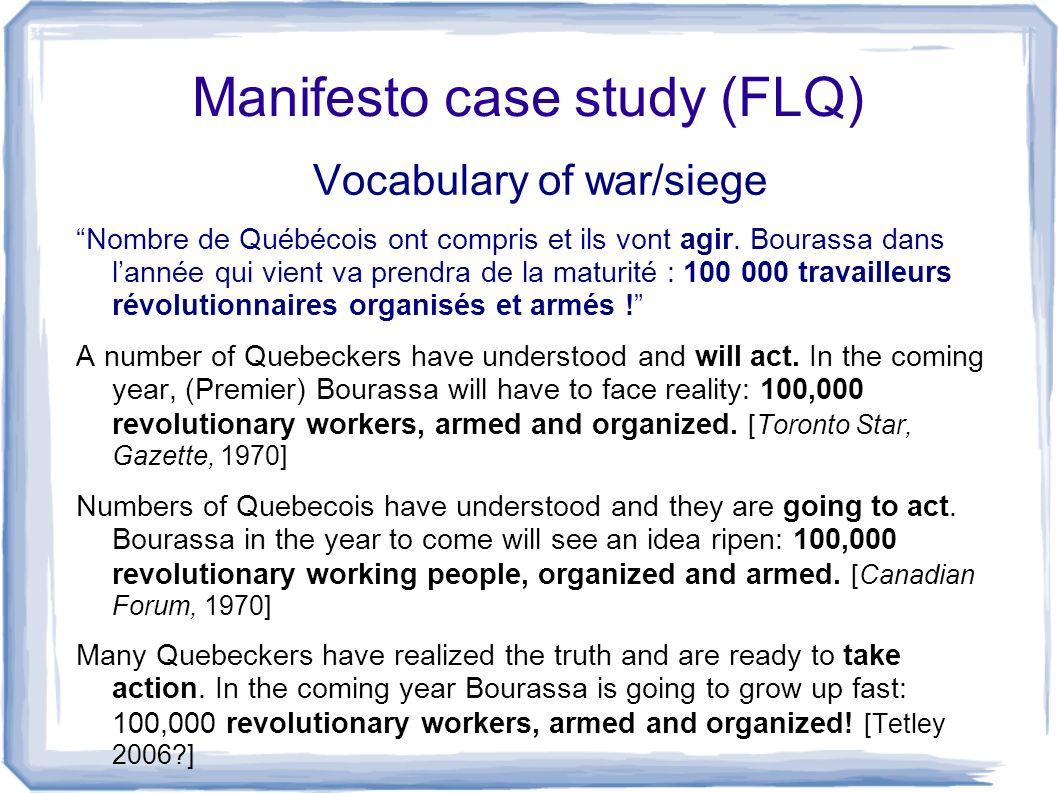 Manifesto case study (FLQ) Vocabulary of war/siege Nombre de Québécois ont compris et ils vont agir. Bourassa dans lannée qui vient va prendra de la m