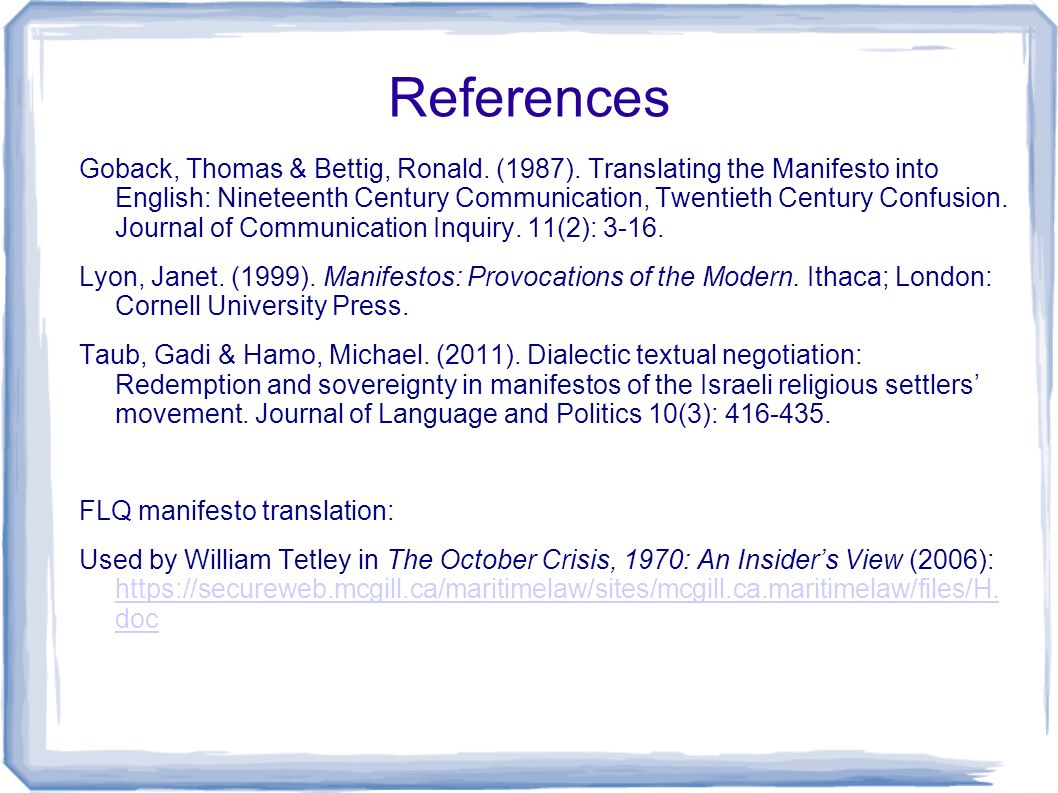 References Goback, Thomas & Bettig, Ronald. (1987).