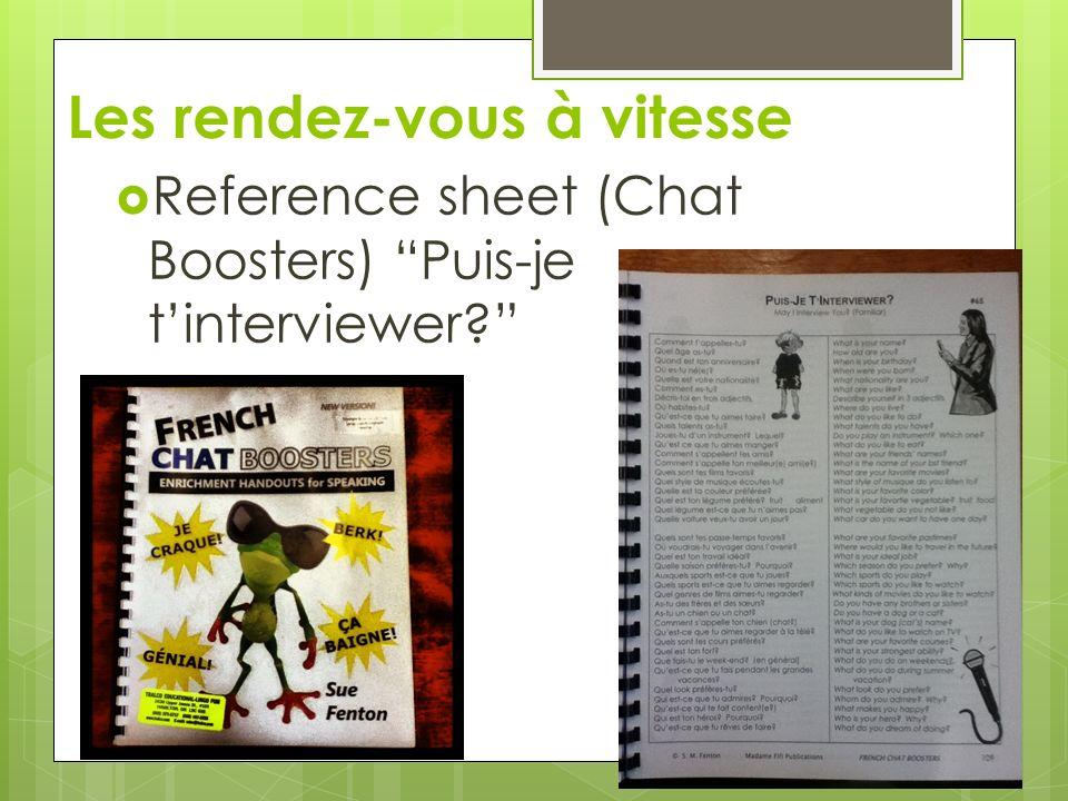 Les rendez-vous à vitesse Reference sheet (Chat Boosters) Puis-je tinterviewer?