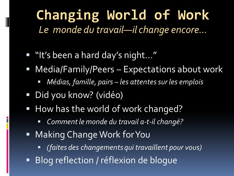 Changing World of Work Le monde du travailil change encore...