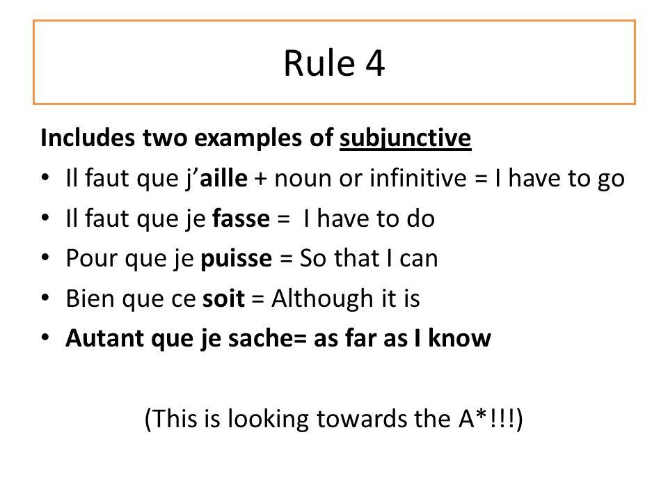 Rule 3 Use at least one comparative structure and one superlative structure (also use p162 in your textbook) Mon père est PLUS amusant QUE ma mère – more ….then Chingford est MOINS pollué QUE le centre de Londres – less ….