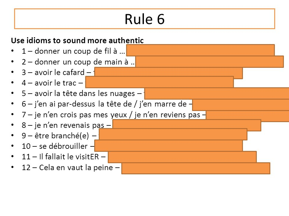 Rule 5 Include two SI sentences using the imperfect and the conditional (also use p167 in your textbook) Si javais de largent= if I had some money Si jétais riche = if I were rich Si je pouvais = If I could Jirais = I would go Je visiterais = I would live Jachèterais = I would buy WOULD = infinitive + imperfect endings Give me an example sentence like this?