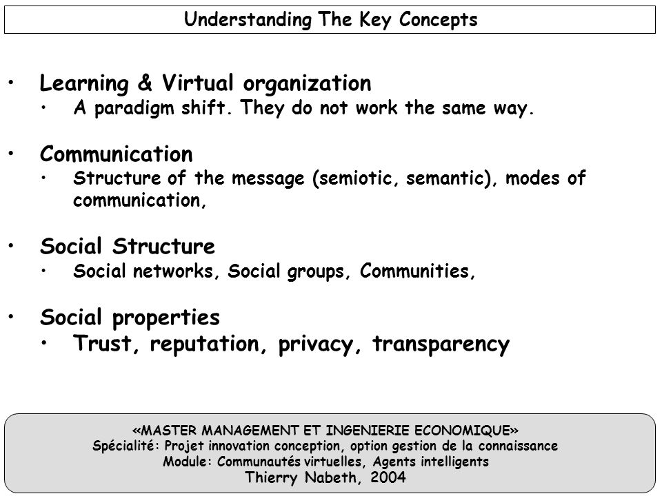 «MASTER MANAGEMENT ET INGENIERIE ECONOMIQUE» Spécialité: Projet innovation conception, option gestion de la connaissance Module: Communautés virtuelle