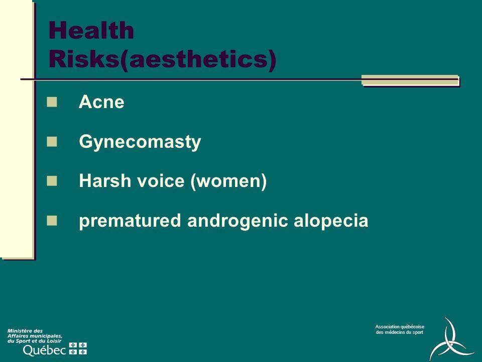 Association québécoise des médecins du sport Health Risks(aesthetics) Acne Gynecomasty Harsh voice (women) prematured androgenic alopecia