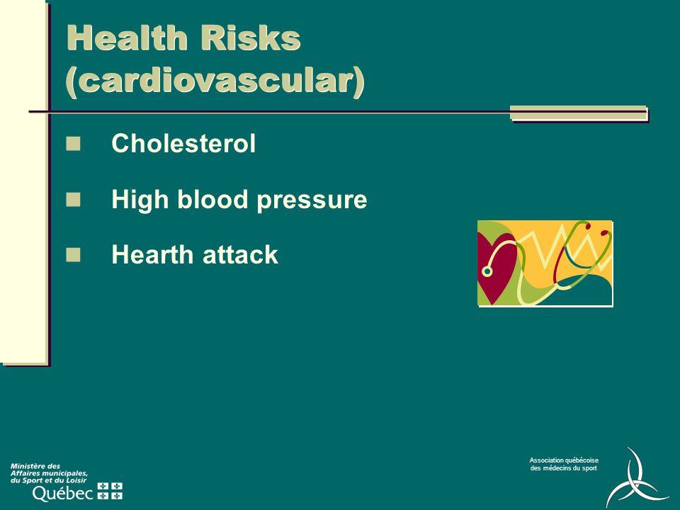 Association québécoise des médecins du sport Health Risks (cardiovascular) Cholesterol High blood pressure Hearth attack