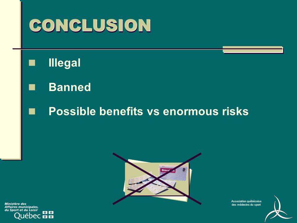 Association québécoise des médecins du sport CONCLUSION Illegal Banned Possible benefits vs enormous risks