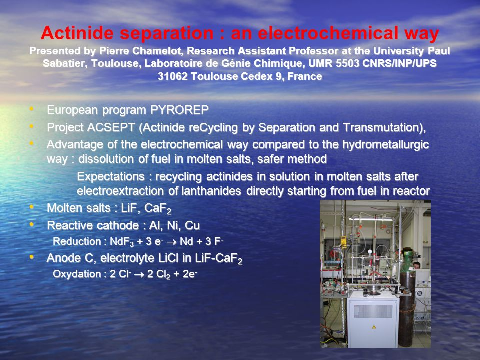 thermochemical transformation (pyrolyse and gazeification)) forcethermic energy electricityé new fuels hydrogen biodiesel bioethanol Example 3 : biomass and chemical energy Presented by Maurice Comtat, Professor at the University Paul Sabatier, Toulouse Laboratoire de Génie Chimique, UMR 5503 CNRS/INP/UPS 31062 Toulouse Cedex 9, France
