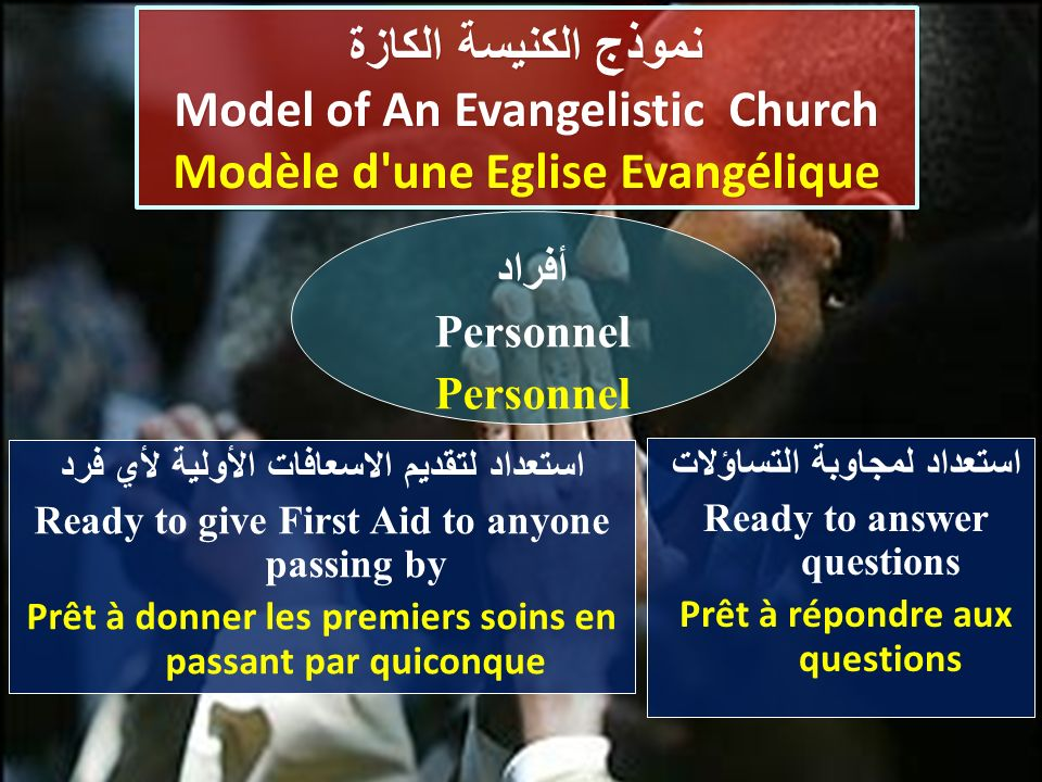 استعداد لمجاوبة التساؤلات Ready to answer questions Prêt à répondre aux questions نموذج الكنيسة الكازة Model of An Evangelistic Church Modèle d une Eglise Evangélique نموذج الكنيسة الكازة Model of An Evangelistic Church Modèle d une Eglise Evangélique أفراد Personnel استعداد لتقديم الاسعافات الأولية لأي فرد Ready to give First Aid to anyone passing by Prêt à donner les premiers soins en passant par quiconque