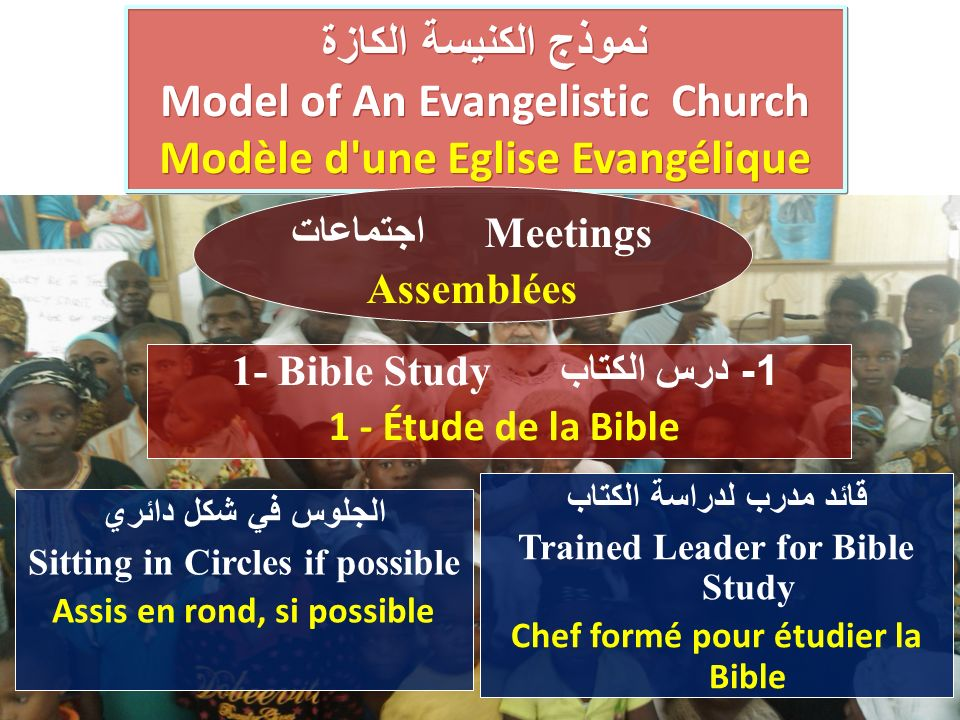 الجلوس في شكل دائري Sitting in Circles if possible Assis en rond, si possible نموذج الكنيسة الكازة Model of An Evangelistic Church Modèle d une Eglise Evangélique نموذج الكنيسة الكازة Model of An Evangelistic Church Modèle d une Eglise Evangélique 1 - درس الكتاب 1- Bible Study 1 - Étude de la Bible اجتماعات Meetings Assemblées قائد مدرب لدراسة الكتاب Trained Leader for Bible Study Chef formé pour étudier la Bible
