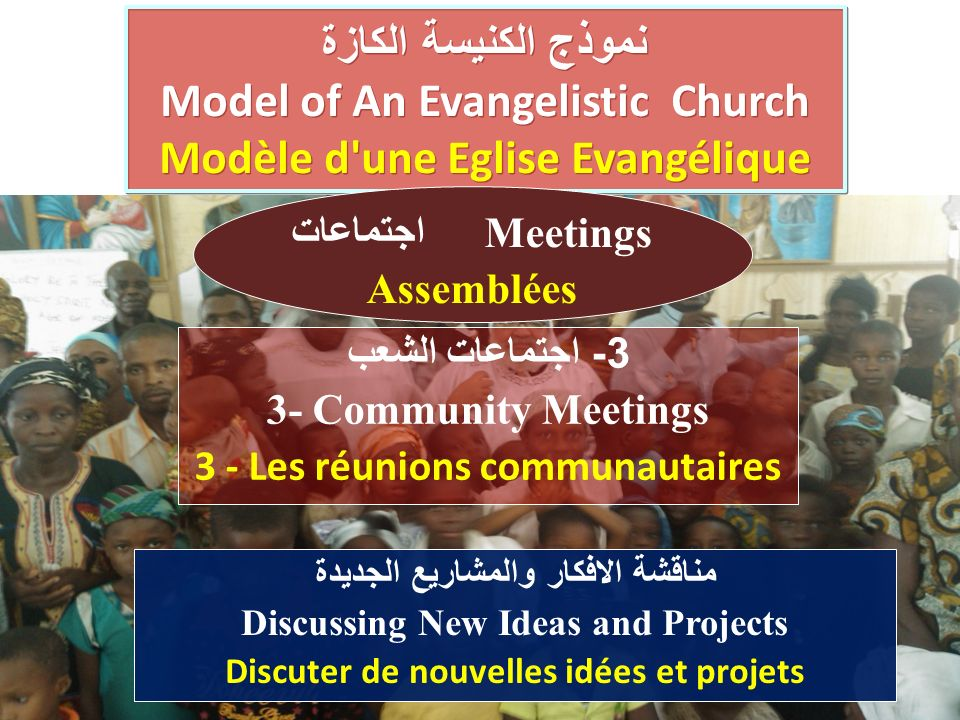 نموذج الكنيسة الكازة Model of An Evangelistic Church Modèle d une Eglise Evangélique نموذج الكنيسة الكازة Model of An Evangelistic Church Modèle d une Eglise Evangélique 3- اجتماعات الشعب 3- Community Meetings 3 - Les réunions communautaires اجتماعات Meetings Assemblées مناقشة الافكار والمشاريع الجديدة Discussing New Ideas and Projects Discuter de nouvelles idées et projets