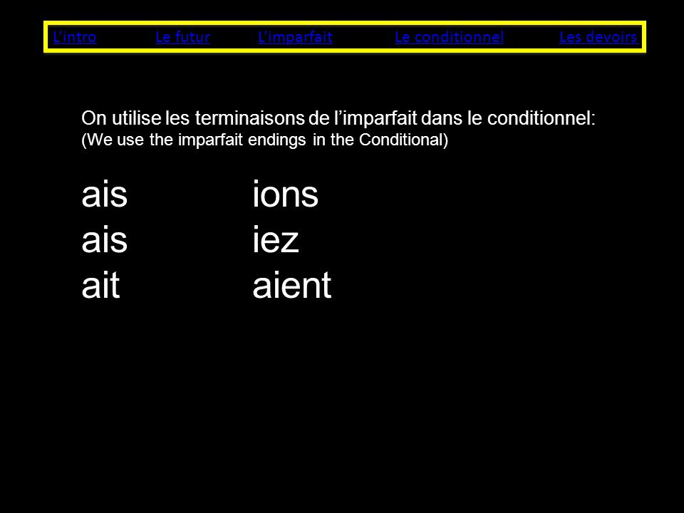 LintroLe futurLes devoirsLe conditionnelLimparfait On utilise les terminaisons de limparfait dans le conditionnel: (We use the imparfait endings in the Conditional) aisions aisiez aitaient