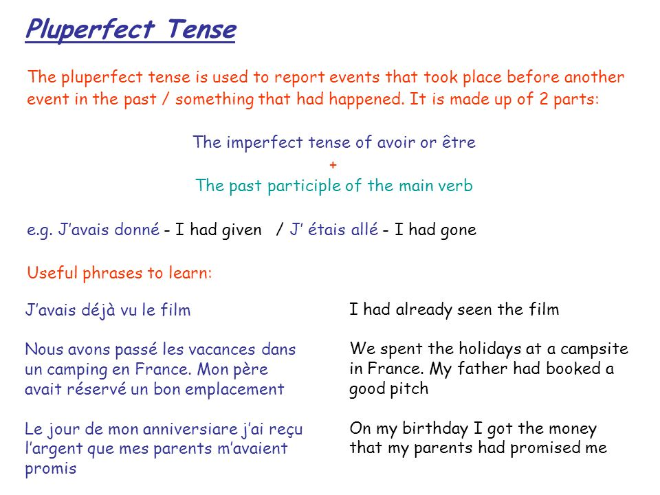 Pluperfect Tense The pluperfect tense is used to report events that took place before another event in the past / something that had happened. It is m