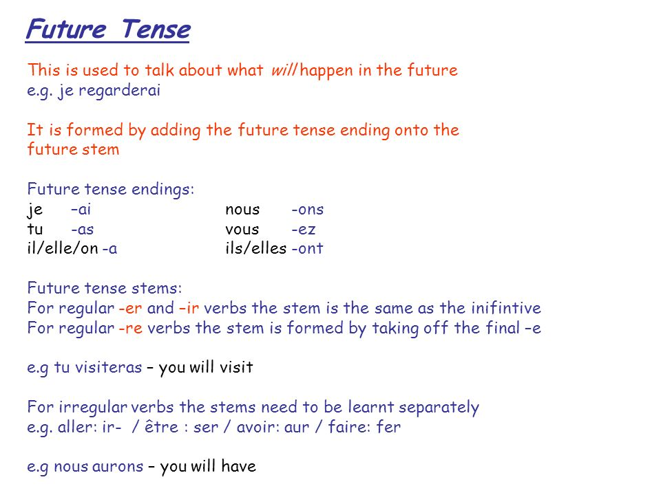 Future Tense This is used to talk about what will happen in the future e.g.