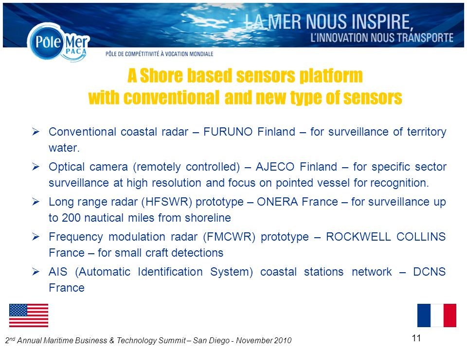 2 nd Annual Maritime Business & Technology Summit – San Diego - November 2010 11 A Shore based sensors platform with conventional and new type of sensors Conventional coastal radar – FURUNO Finland – for surveillance of territory water.