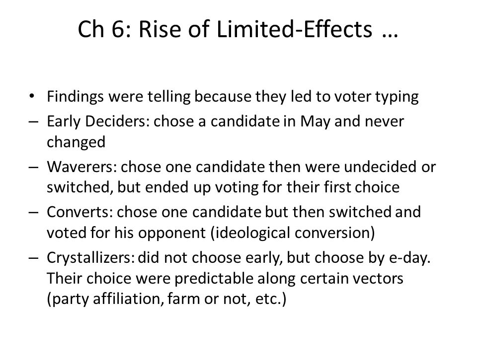Ch 6: Rise of Limited-Effects … Findings were telling because they led to voter typing – Early Deciders: chose a candidate in May and never changed –
