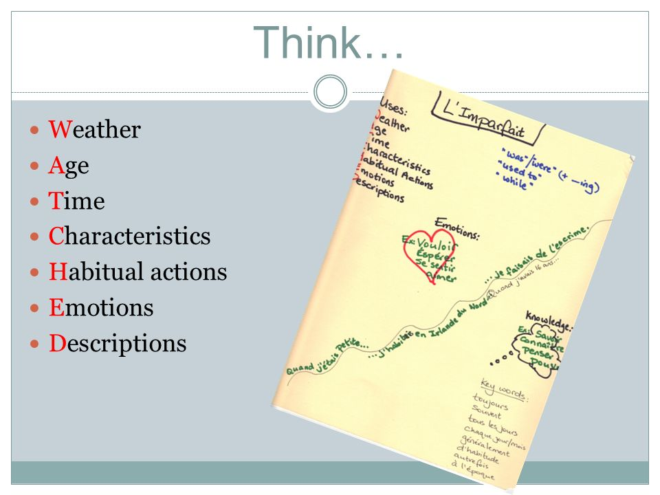 Think… Weather Age Time Characteristics Habitual actions Emotions Descriptions
