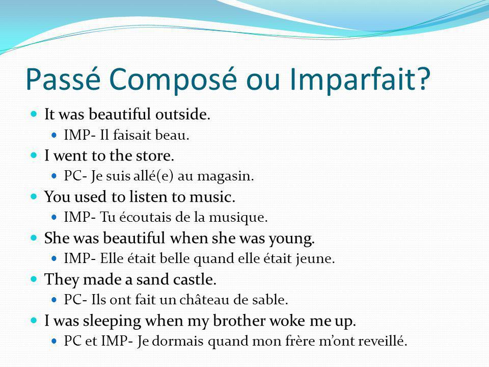 Passé Composé ou Imparfait. It was beautiful outside.