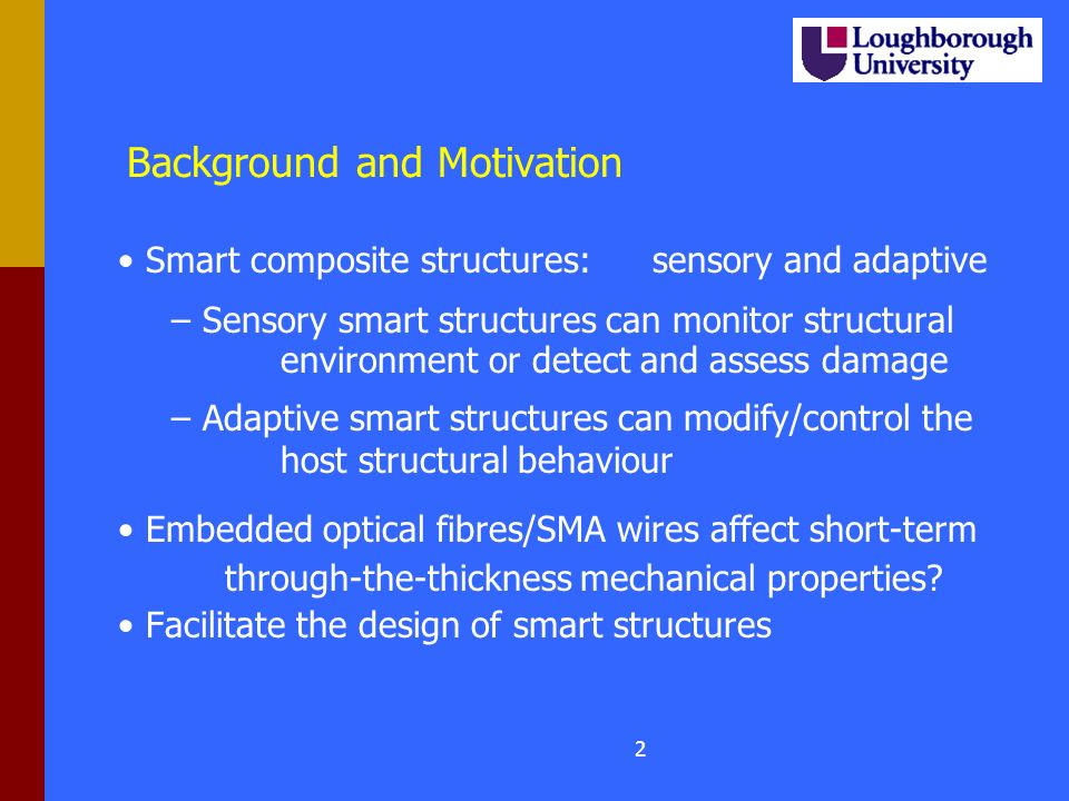 Background and Motivation Smart composite structures:sensory and adaptive – – Sensory smart structures can monitor structural environment or detect and assess damage – – Adaptive smart structures can modify/control the host structural behaviour Embedded optical fibres/SMA wires affect short-term through-the-thickness mechanical properties.