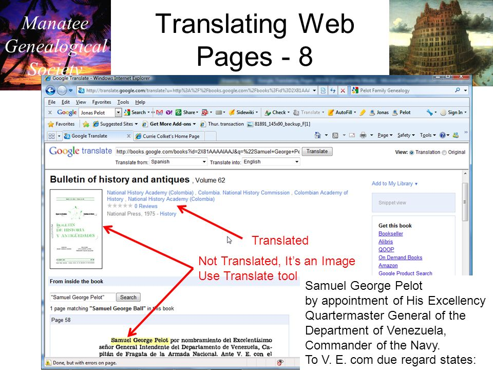 Manatee Genealogical Society Translating Web Pages - 8 Translated Not Translated, Its an Image Use Translate tool Samuel George Pelot by appointment of His Excellency Quartermaster General of the Department of Venezuela, Commander of the Navy.