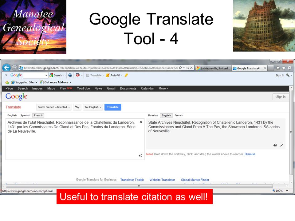 Manatee Genealogical Society Google Translate Tool - 4 Useful to translate citation as well!
