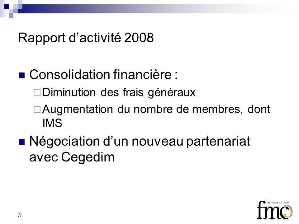 3 Rapport dactivité 2008 Consolidation financière : Diminution des frais généraux Augmentation du nombre de membres, dont IMS Négociation dun nouveau partenariat avec Cegedim