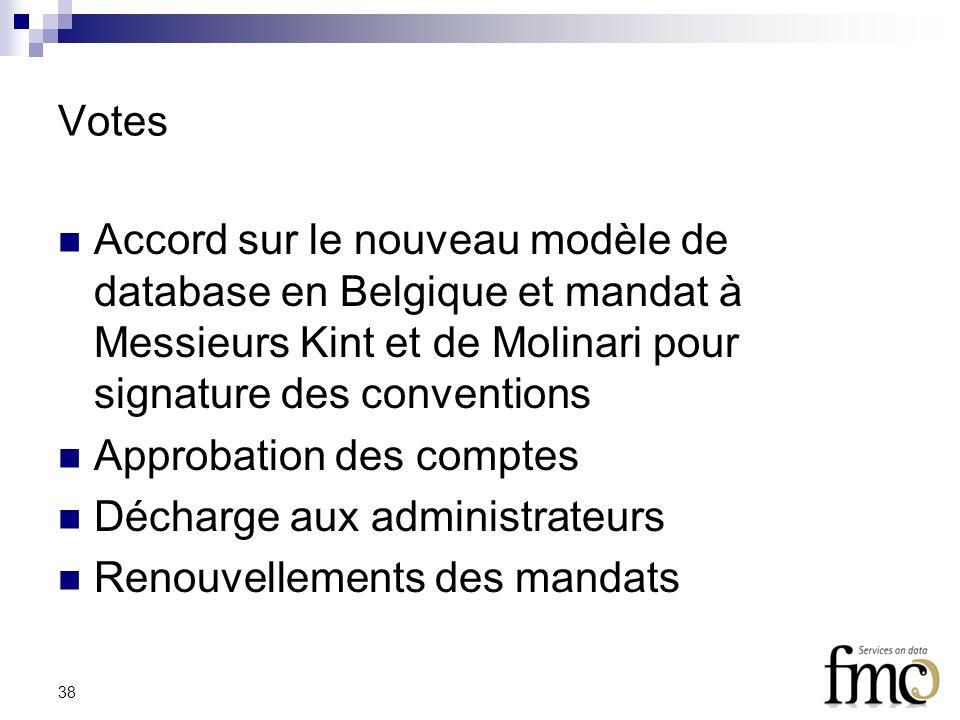 38 Votes Accord sur le nouveau modèle de database en Belgique et mandat à Messieurs Kint et de Molinari pour signature des conventions Approbation des comptes Décharge aux administrateurs Renouvellements des mandats