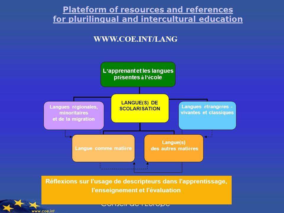 Plateform of resources and references for plurilingual and intercultural education WWW.COE.INT/LANG Langues r é gionales, minoritaires et de la migrat