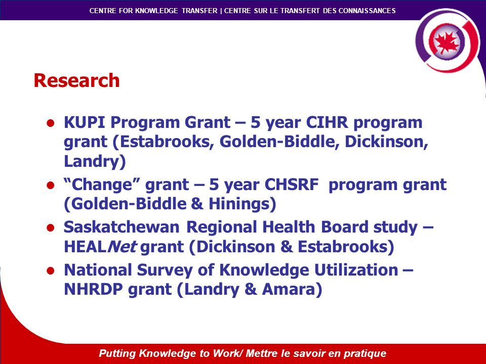 CENTRE FOR KNOWLEDGE TRANSFER | CENTRE SUR LE TRANSFERT DES CONNAISSANCES Putting Knowledge to Work/ Mettre le savoir en pratique Research KUPI Program Grant – 5 year CIHR program grant (Estabrooks, Golden-Biddle, Dickinson, Landry) Change grant – 5 year CHSRF program grant (Golden-Biddle & Hinings) Saskatchewan Regional Health Board study – HEALNet grant (Dickinson & Estabrooks) National Survey of Knowledge Utilization – NHRDP grant (Landry & Amara)