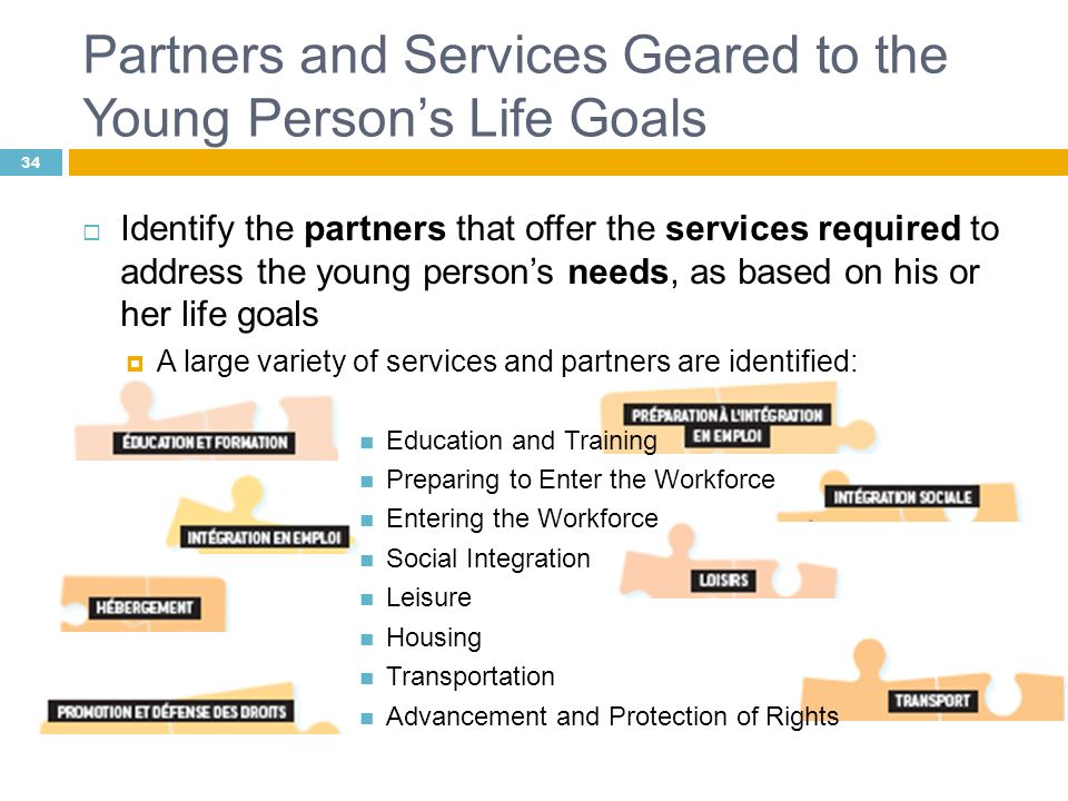 Identify the partners that offer the services required to address the young persons needs, as based on his or her life goals A large variety of servic