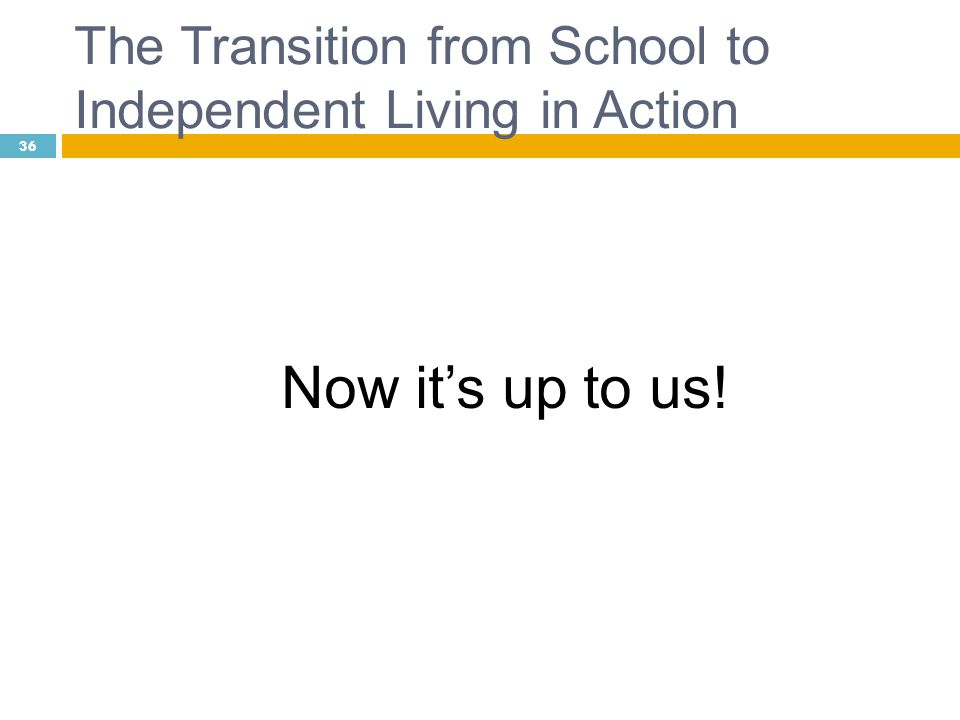 Now its up to us! The Transition from School to Independent Living in Action 36