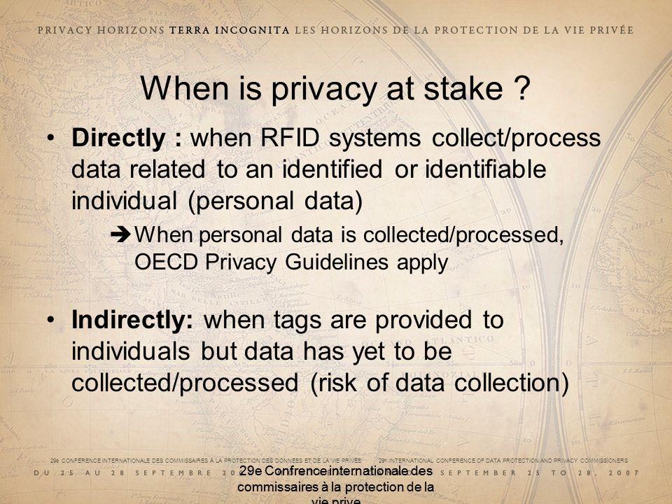 29e CONFÉRENCE INTERNATIONALE DES COMMISSAIRES À LA PROTECTION DES DONNÉES ET DE LA VIE PRIVÉE 29 th INTERNATIONAL CONFERENCE OF DATA PROTECTION AND PRIVACY COMMISSIONERS 29e Confrence internationale des commissaires à la protection de la vie prive When is privacy at stake .