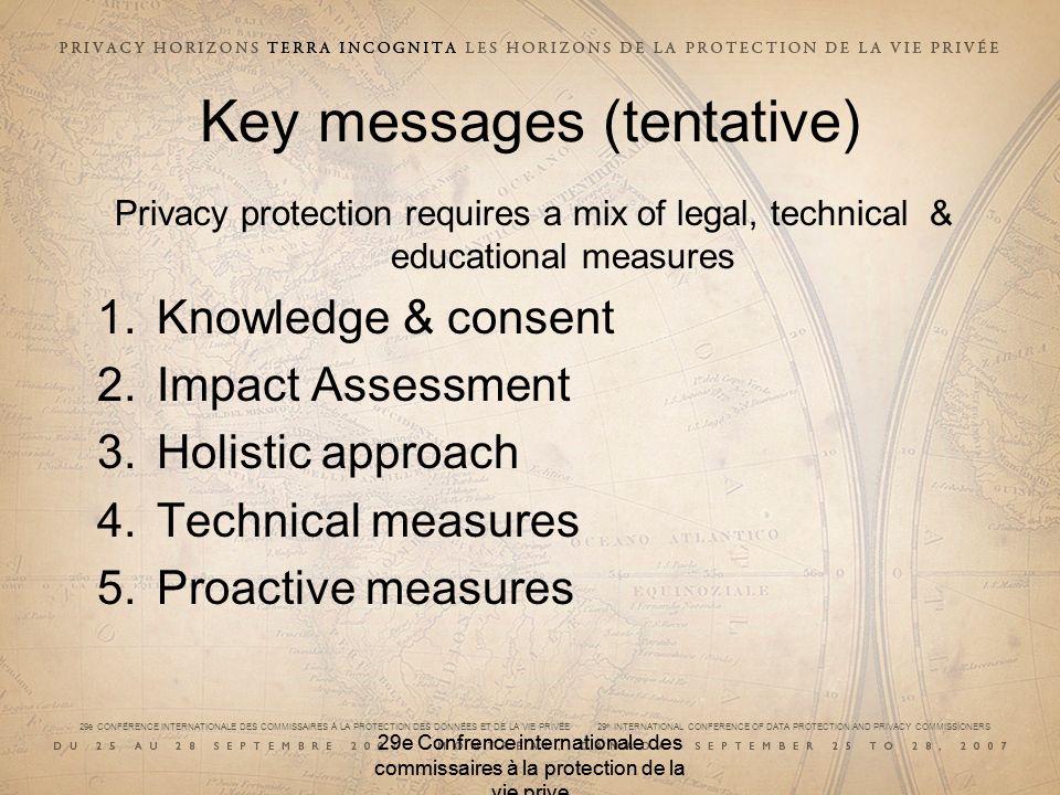29e CONFÉRENCE INTERNATIONALE DES COMMISSAIRES À LA PROTECTION DES DONNÉES ET DE LA VIE PRIVÉE 29 th INTERNATIONAL CONFERENCE OF DATA PROTECTION AND PRIVACY COMMISSIONERS 29e Confrence internationale des commissaires à la protection de la vie prive Key messages (tentative) Privacy protection requires a mix of legal, technical & educational measures 1.Knowledge & consent 2.Impact Assessment 3.Holistic approach 4.Technical measures 5.Proactive measures 29e Confrence internationale des commissaires à la protection de la vie prive