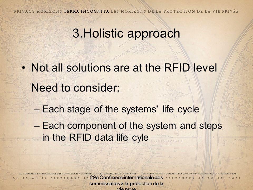29e CONFÉRENCE INTERNATIONALE DES COMMISSAIRES À LA PROTECTION DES DONNÉES ET DE LA VIE PRIVÉE 29 th INTERNATIONAL CONFERENCE OF DATA PROTECTION AND PRIVACY COMMISSIONERS 29e Confrence internationale des commissaires à la protection de la vie prive 3.Holistic approach Not all solutions are at the RFID level Need to consider: –Each stage of the systems life cycle –Each component of the system and steps in the RFID data life cyle 29e Confrence internationale des commissaires à la protection de la vie prive