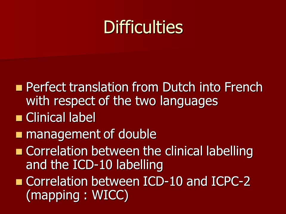 Difficulties Perfect translation from Dutch into French with respect of the two languages Perfect translation from Dutch into French with respect of t