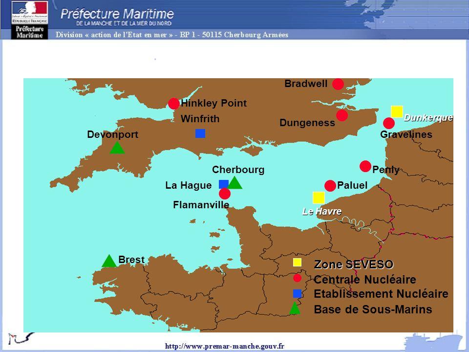 Cherbourg Flamanville Paluel Penly Dungeness Bradwell Winfrith Devonport La Hague Gravelines Hinkley Point Brest Centrale Nucléaire Etablissement Nucléaire Base de Sous-Marins Le Havre Dunkerque Zone SEVESO Many sensible activities Sensitive activities