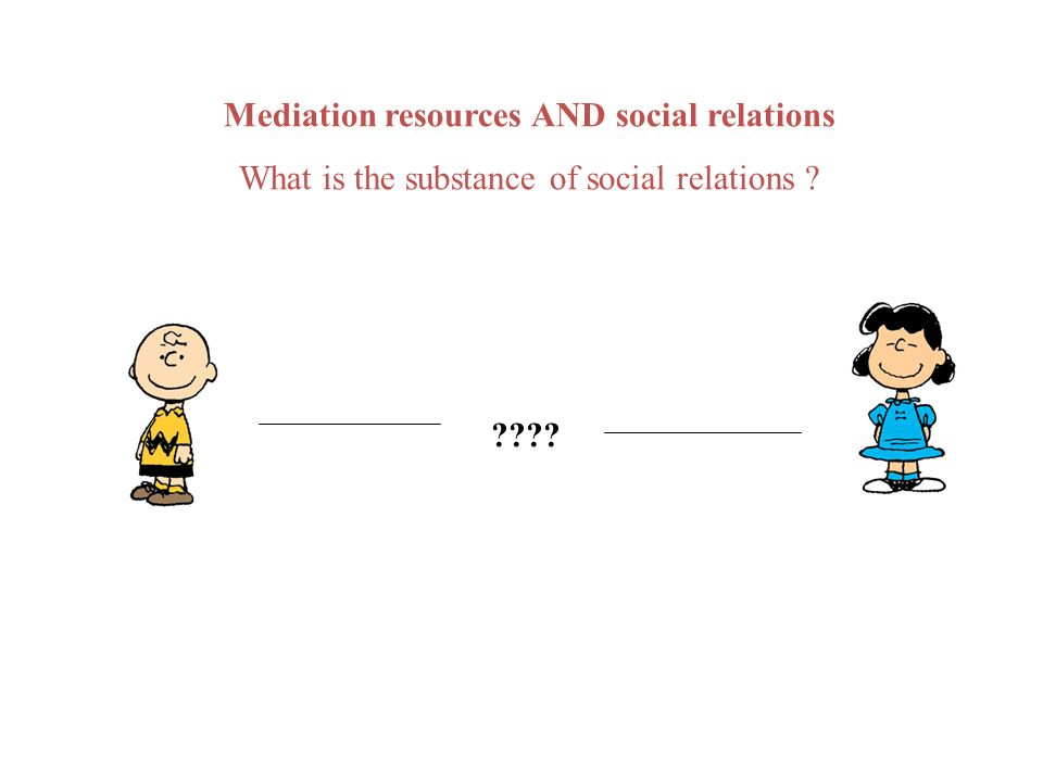 Mediation resources AND social relations What is the substance of social relations ? ????