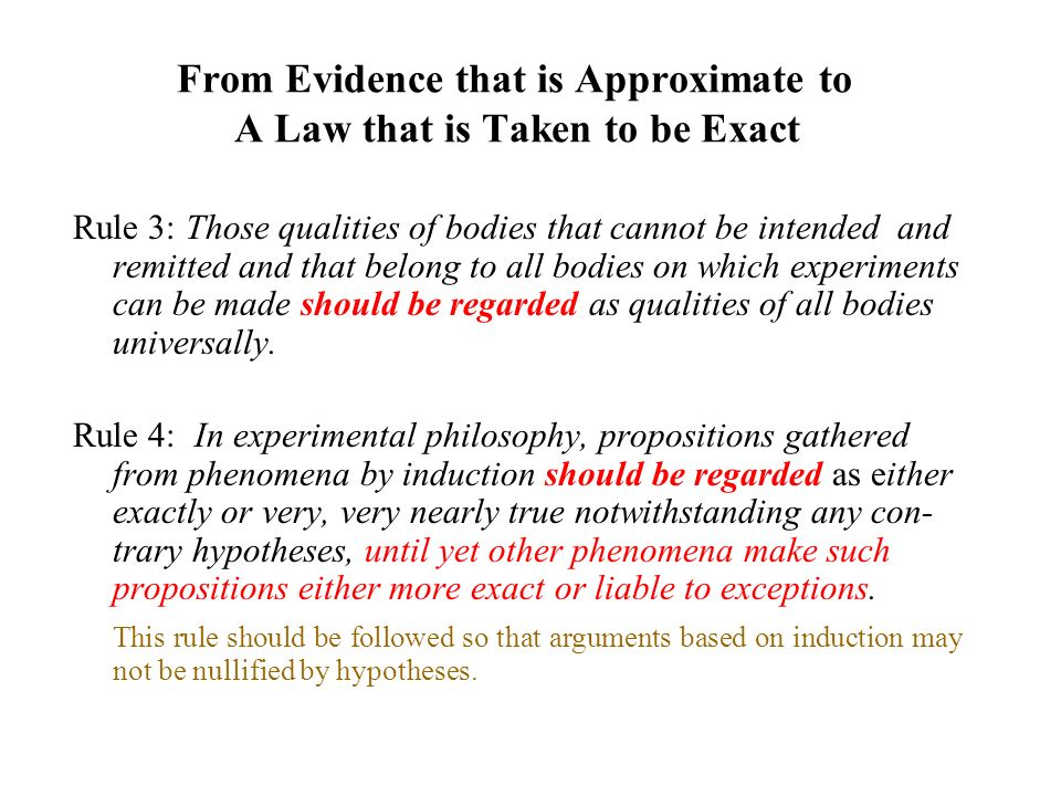 From Evidence that is Approximate to A Law that is Taken to be Exact Rule 3: Those qualities of bodies that cannot be intended and remitted and that b