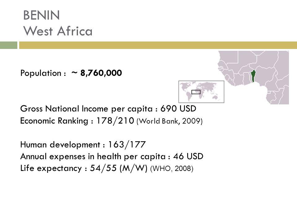 BENIN West Africa Population : ~ 8,760,000 Gross National Income per capita : 690 USD Economic Ranking : 178/210 (World Bank, 2009) Human development