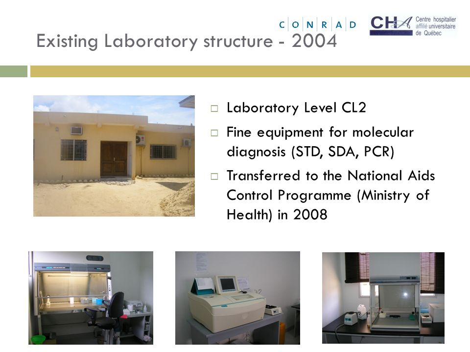 Existing Laboratory structure - 2004 Laboratory Level CL2 Fine equipment for molecular diagnosis (STD, SDA, PCR) Transferred to the National Aids Control Programme (Ministry of Health) in 2008